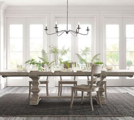 Banks Extending Dining Table 76 112 L Gray Wash Pottery Barn In 2020 Dining Table With Bench Dining Room Design Dining Room Remodel