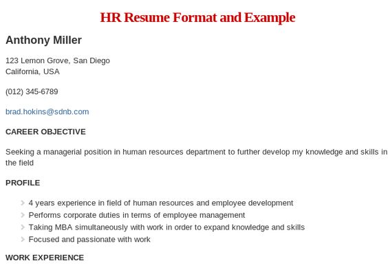 HR Resume Format and Example Read more @ http\/\/wwwresumeformat - hr resume