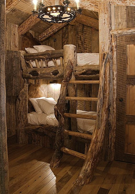 Log cabin bunk beds places spaces pinterest for Log loft bed