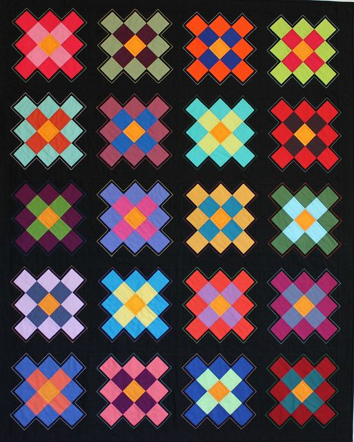 "Great example of an all-solid granny square quilt! ""My Granny is Amish"" by Cindy [liveacolorfullife]."