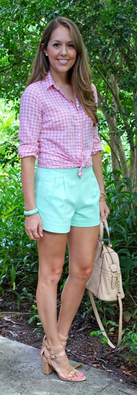Pleated mint shorts with pink gingham shirt by @J's Everyday Fashion