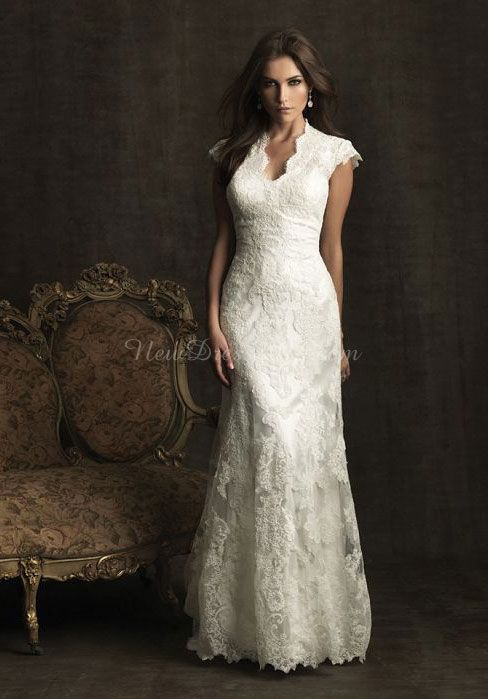 lace a-line v-neck short sleeves floor-length with buttons wedding dress