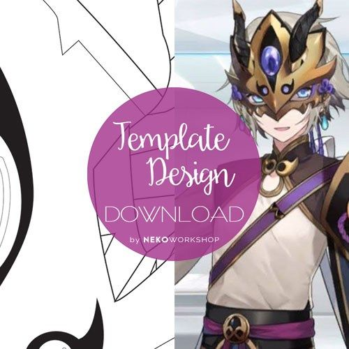 Fate Grand Order Lanling Wang Cosplay Mask Sash Buckle Design Digital Template Templates Cosplay Fate
