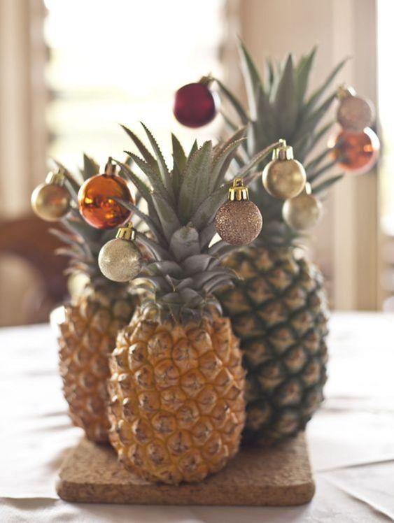 Abacaxi como árvore de natal - Tendência decoração de Natal