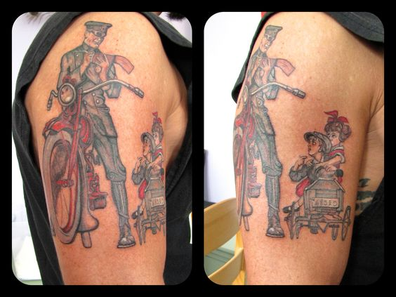 Norman Rockwell Tattoo By Dina Verplank See More At Fireflytattoo