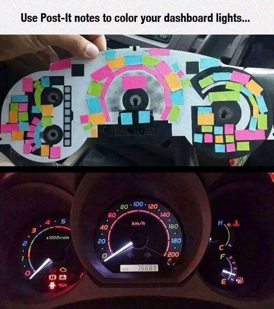 FYI  You Can Use Post It Notes to Color Your Dashboard Lights   Snow  Jeeps  and Cars. FYI  You Can Use Post It Notes to Color Your Dashboard Lights