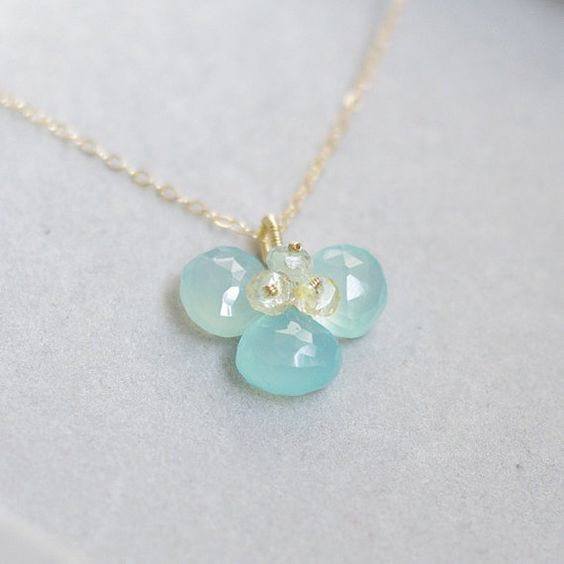 Orchid blossom necklace with Aqua blue by FridaHandmadeJewelry