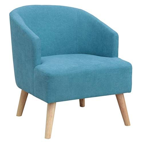 Upholstery Modern Design Fabric Accent Chair Loveseat Leisure Small Sofa With Natural Wooden Legs Blue Chair Fabric Accent Chair Small Sofa Love Seat
