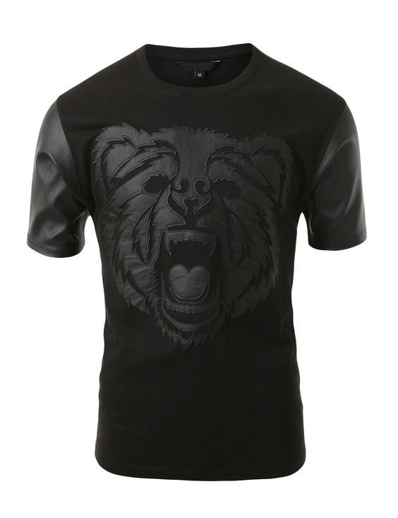 SMITHJAY Mens Hipster Hip-Hop Growling Bear Print T-shirt with Leather Sleeve #smithjay