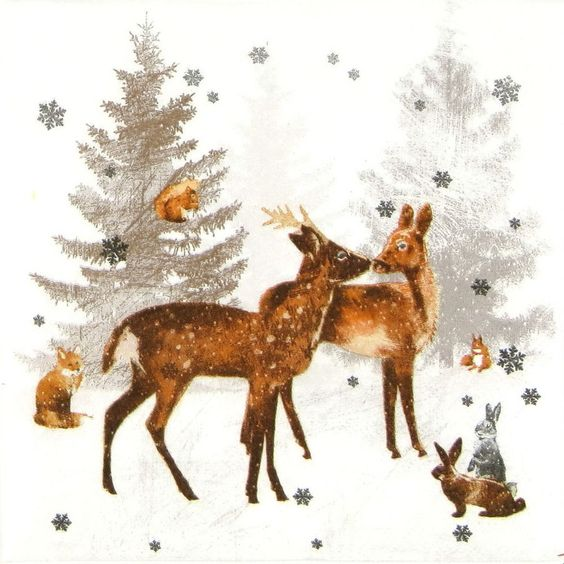 4x Single Party Lunch Paper Napkins for Decoupage Decopatch Craft Woodland Scene