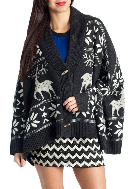 oversized fair isle knit cardigan $46.00