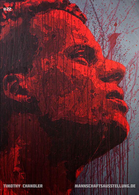 Timothy Chandler, Eintracht Frankfurt, acrylics on canvas, 70cmx100cm