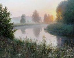 Раннее утро у реки - пейзаж В.Н.Палачева