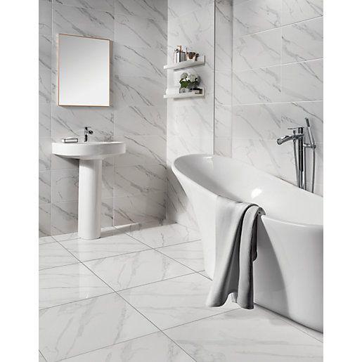 Wickes Calacatta Gloss White Marble Effect Glazed Porcelain Tile 605 X 605mm Wickes Co Uk White Marble Tile Bathroom Bathroom Wall Tile Grey Marble Bathroom