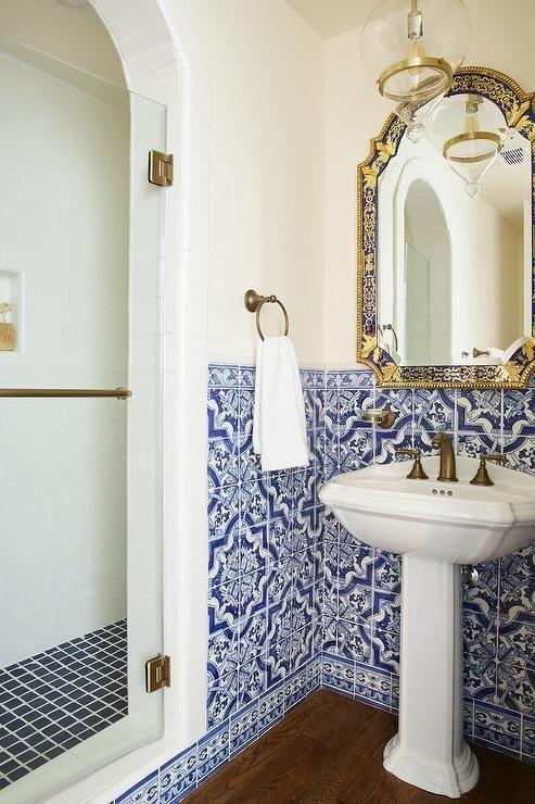 Mediterranean Bathroom Design Boasts Blue Moroccan Style Wall Tiles Surrounding A Pedestal Sink Mediterranean Bathroom Moroccan Bathroom Moroccan Tile Bathroom