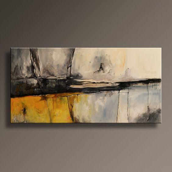 48 large original abstract yellow gray painting on canvas contemporary abstract modern art wall - Wandbild hochformat ...