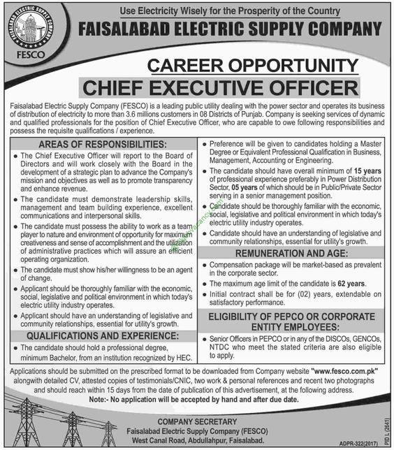 Faisalabad Electric Supply Company Jobs Latest Advertisement 2017 - chief executive officer job description