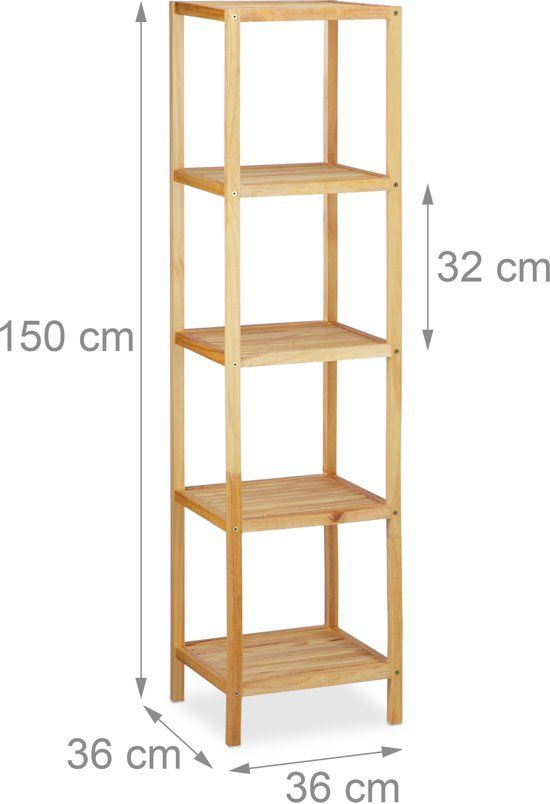 Badkamerkast Bamboe Open Kast 5 Planken Badkamer Kast Meubel Stellingkast Badkamer Kasten Badkamermeubel Handdoeken Badkamer