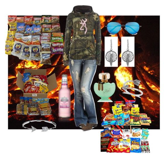 """""""bonfire season with lots of snacks"""" by pistols-n-pearls ❤ liked on Polyvore featuring Victoria's Secret, Justin Boots, Body by Victoria, Bling Jewelry, Allurez and Linda Farrow"""