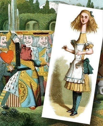 Alice in Wonderland was first published in 1865 with illustrations by John Tenniel, who was such a perfectionist that he destroyed the first 2000 copies made because the quality was too low for his taste. These amazing woodcuts were scanned directly from two different original 1890s copies. This is the only version that features the original illustrations colored by Tenniel himself. Digital collage sheet 646 by piddix.