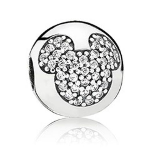 Disney Pandora Exclusive Sparkling Mickey Mouse Pave Sterling Silver Clip Charm