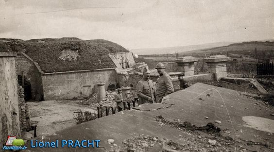 WW1, Battle of Verdun, 1916; French soldiers at Fort Bois-Bourrus.