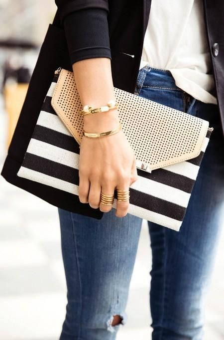 City Slim Clutch - Black/Cream Clean Stripe by Stella & Dot. Grab this envelope clutch to complement your fav dress or dress it down and wear it cross body by adding our Versatile Chain in silver that also doubles as a necklace! Toss in your cash, cards and lip gloss and you're ready for a chic outing!:
