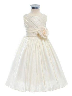 Ivory Lattice Bodice Elegant Flower Girl Dress (Sizes 2-12 in 3 Colors) - Flower Girl Dresses - GIRLS