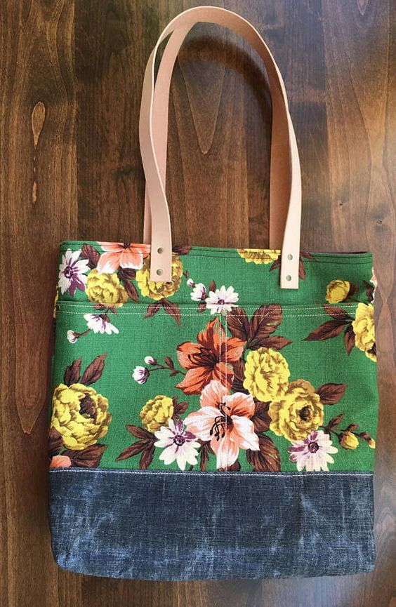 Floral Tote Bag| | 44 Fields Co | Floral tote bags, Denim
