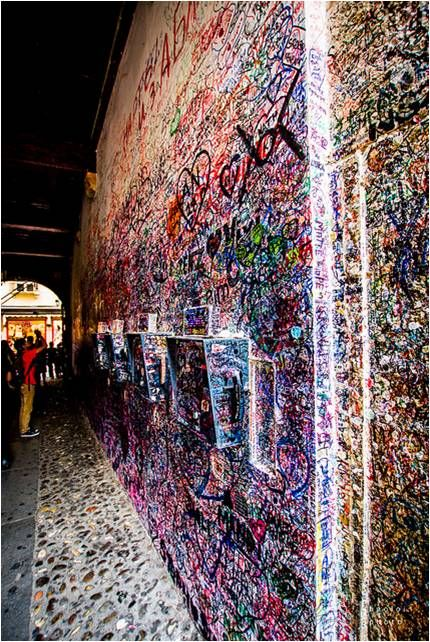 """Verona, Italy—Visitors to """"Juliet's Wall"""" write and post small love letters with the belief that this will make their love everlasting."""