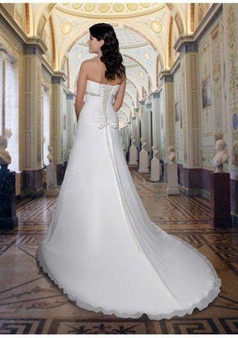 Chiffon Strapless Sweetheart Neckline Gathered Bodice Beaded Empire A-line Skirt With Chapel Train 2012 New Wedding Dress WD0682