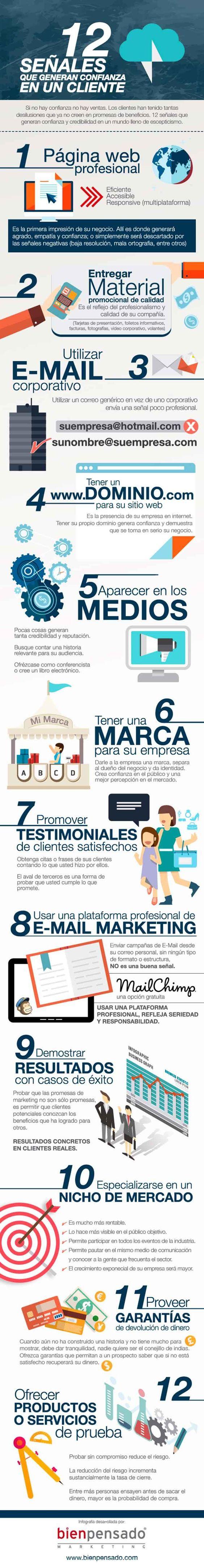 Infografia sobre las 12 señales que generan confianza en los clientes: