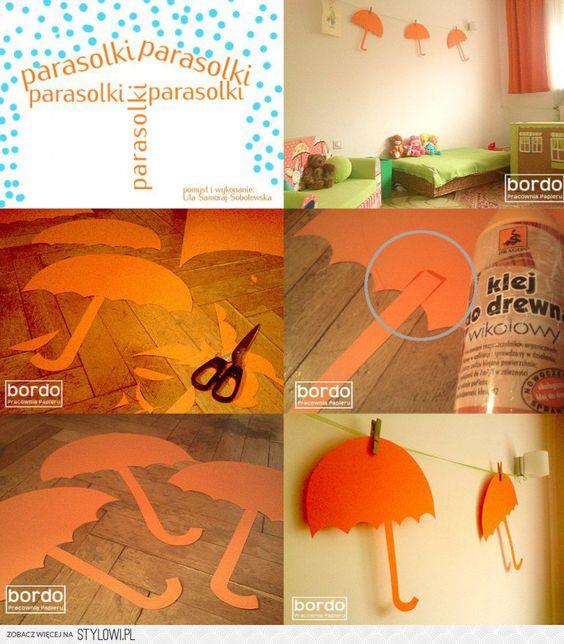 Pomarańczowe parasolki. Dekoracja pokoju dziecięcego. P…