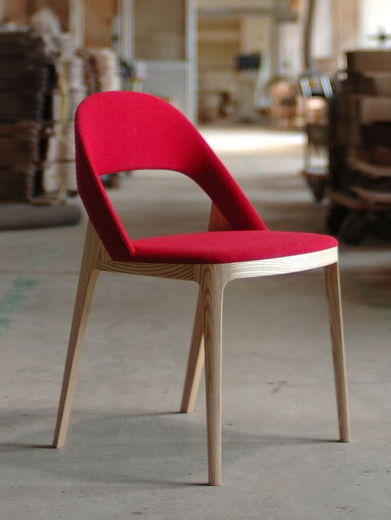 CLAMP chair || ANDREAS KOWALEWSKI || made by miyazaki || japan || bees waxed ash, oak, or walnut || shown with red upholstery || traditional handcraft + cnc || assembled by hand