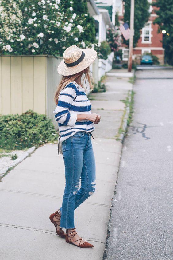 Paige Denim Straight Leg Jeans Stripe Sweater Lace Up Flats