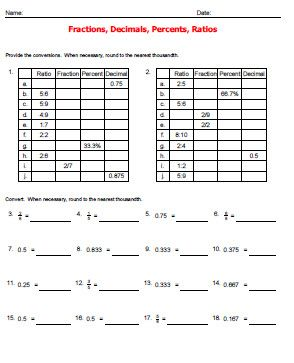 Printables Changing Percents To Decimals Worksheets fractions into percents worksheets help converting between decimals percents