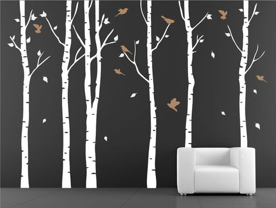 Tree with birds wall decal. wall sticker. vinil wall decal. birch ...