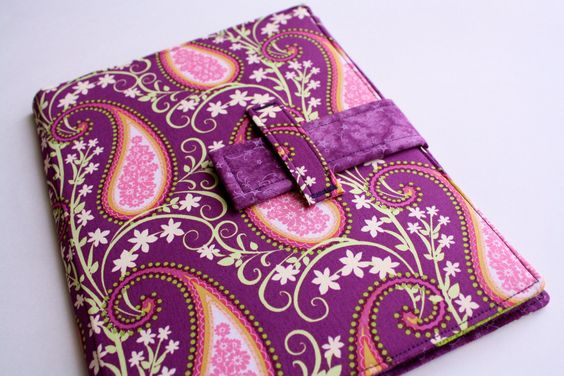iPad case stand Plum Paisley fabric iPad cover by sewingamity