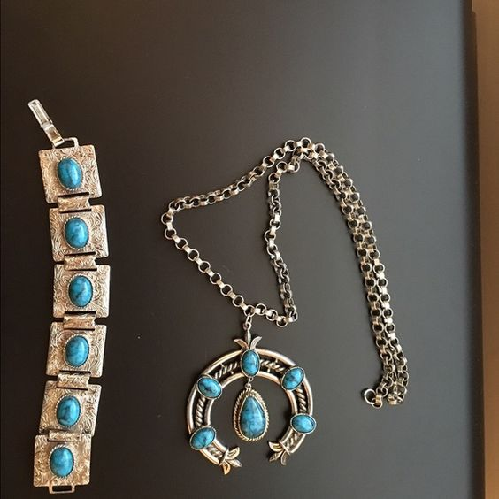 "Turquoise Necklace and Bracelet Set Beautiful hand crafted turquoise and metal necklace and bracelet set. Necklace is 25"" and bracelet 8.5"" including clasps. Jewelry Necklaces"