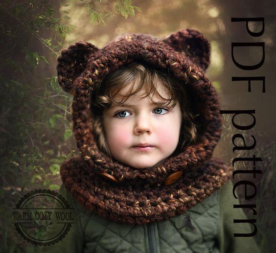 CROCHET PATTERN   Bear Hooded Cowl For babytoddler by WOOLLENcloud