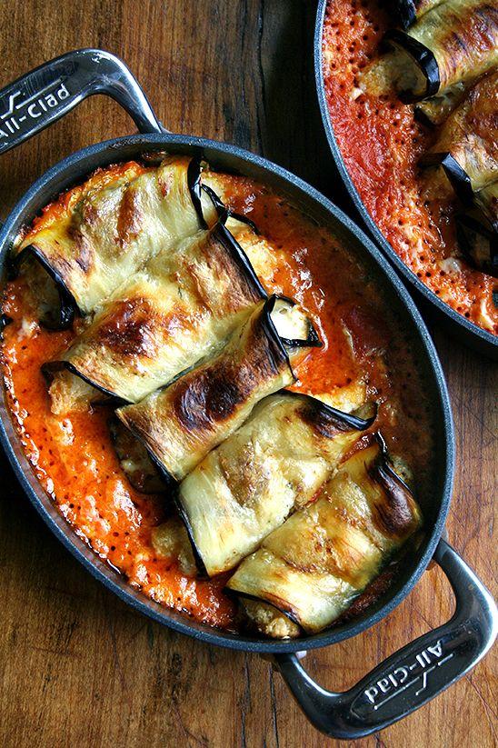 eggplant involtini:used GF panko crumbs, cottage cheese, 1/2&1/2. Use EITHER lemon zest or 1/2 lemon-not both.Everyone likedMM