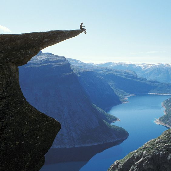 Trolltunga - Norway  Never going to Norway. People are suicidal. ;)
