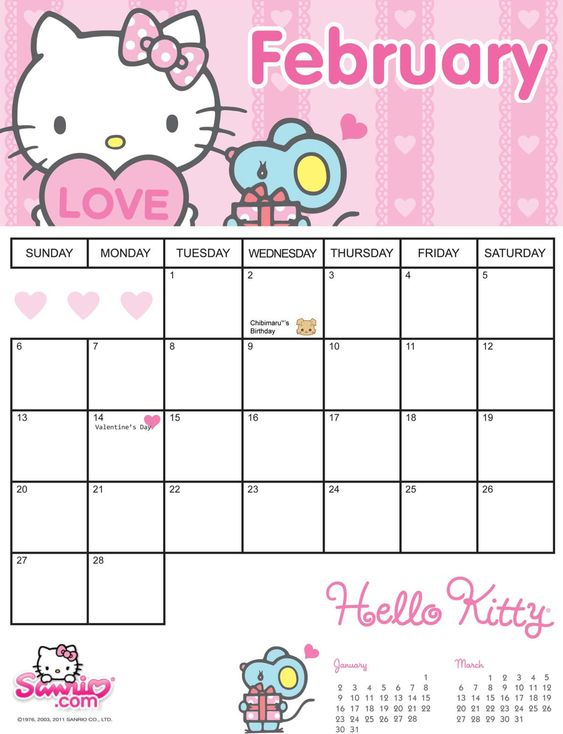 Hello Kitty February 2011 Printable Calendar Kids Calendar Hello Kitty Printables Calendar Printables
