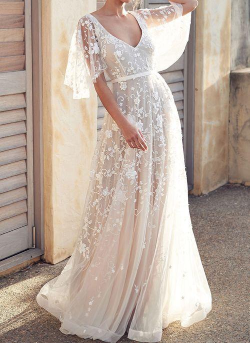 Floryday V Neck Wedding Dress Beach Wedding Dress Boho Lace Beach Wedding Dress