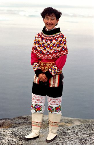 Laila Tobiassen in traditional beaded West Greenlandic costume. Ilulissat, Greenland