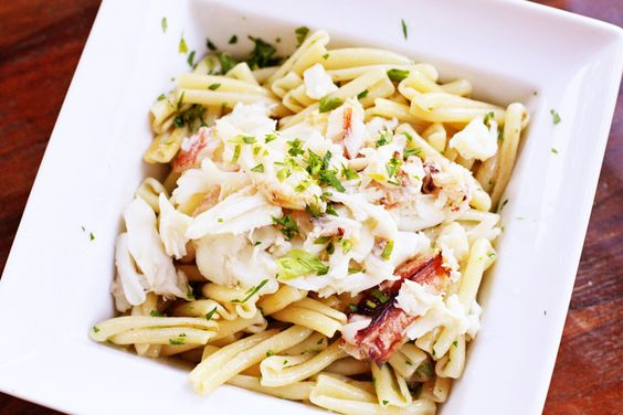 pasta with lemon browned butter & fresh dungeness crab   Sweet Anna's