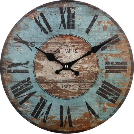 Featuring a heavily distressed blue and brown finish, this delightful wall clock is perfect over a mantel or on your gallery wall.   ...: