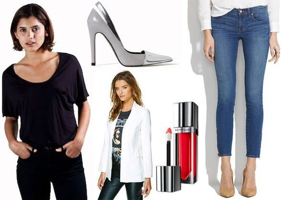 Eight Outfits That You And He Will Both Love- every guy seeing his lady in a relaxed t-shirt and jeans. Temper that inherent casualness with metallic heels a sharp blazer and a bold red lip and the outfits ready for a night out.