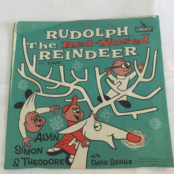 VINTAGE ALVIN CHIPMUNKS RUDOLPH RED NOSED REINDEER RECORD 45 RPM 1961 CHILDRENS