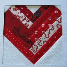 Log Cabin Shaped Heart Quilt block
